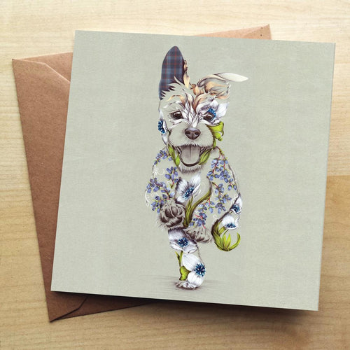 Floral Rustic Cairn Terrier Dog  Greeting Card by Kat Baxter