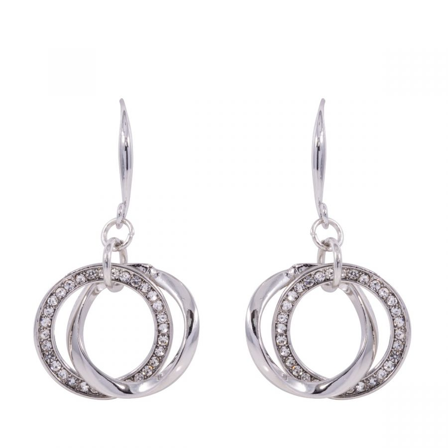 Kylie Rhodium Silver and Crystal Geometric Hook Earrings