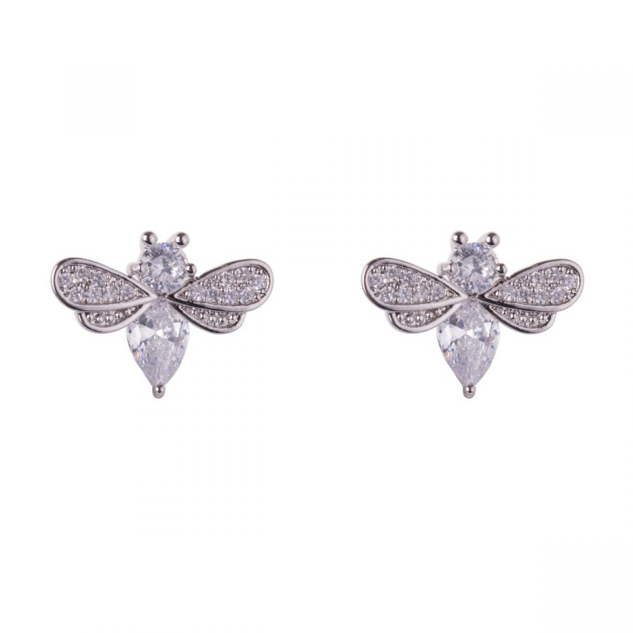 Kylie White Real Gold Plated Clear Crystals Contemporary Bee Stud Earrings