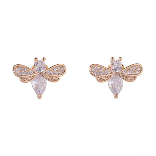 Kylie Real Gold Plated Clear Crystals Contemporary Bee Stud Earrings