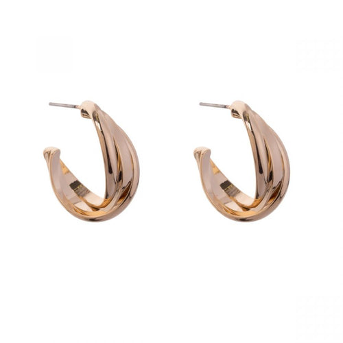 Eternal Gold Hoop Contemporary Abstract Stud Earrings
