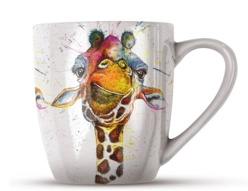Splatter Rainbow Giraffe Bone China Mug by Katherine Williams