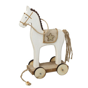 Wooden Horse On Wheels Decoration
