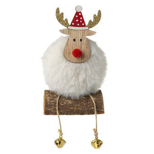 Fabric Fluffy Sitting Reindeer on a log