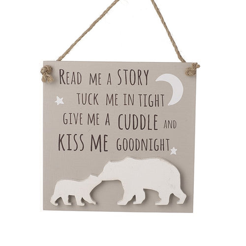 Read Me A Story Tuck Me In Tight Give Me A Cuddle And Kiss Me Goodnight Nursery Children's RoomSign