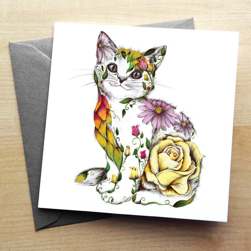 Floral Rosie Cat Greeting Card by Kat Baxter