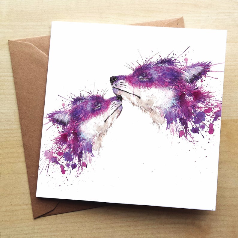 Splatter Sweet Kisses Foxes Greeting Card by Katherine Williams