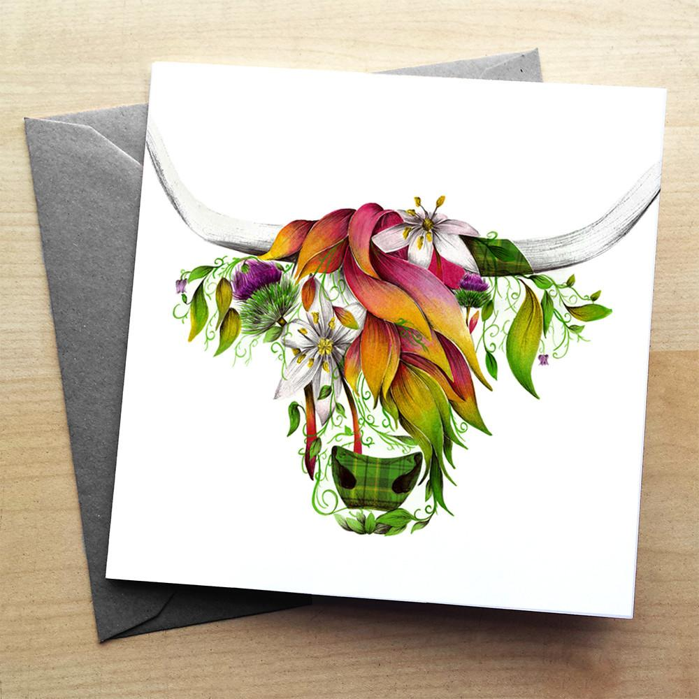 Ivy Highland Cow Greeting Card by Kat Baxter