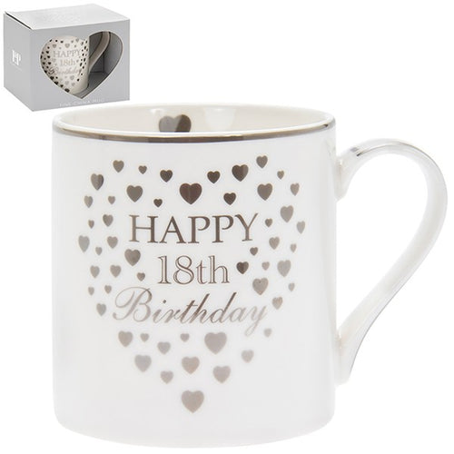 Gold Hearts Birthday Mug 18th