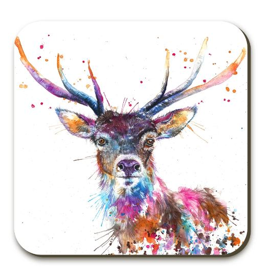 Splatter Rainbow Stag Coaster By Katherine Williams