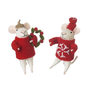 Wool Mouse Christmas Decoration with Wreath or Snowflake Pattern Outfit