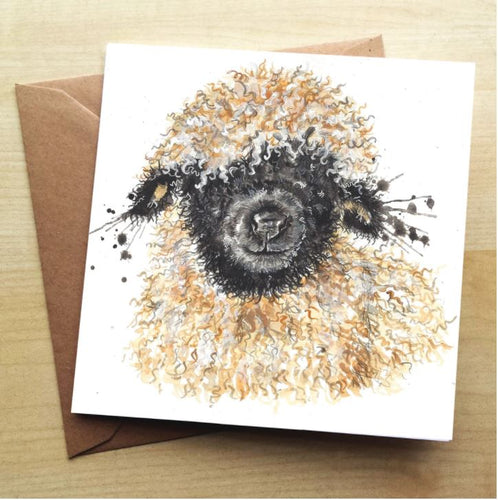 Splatter Betty Sheep Greeting Card by Katherine Williams