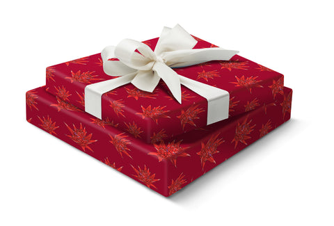 Festive flower gift wrap - red