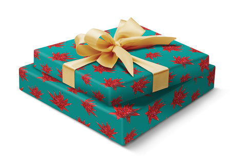 Festive flower gift wrap - green