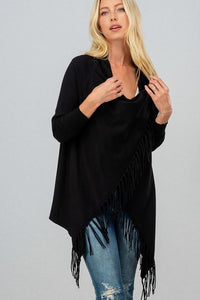Blair Fringe Cardigan - Black