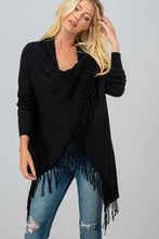 Load image into Gallery viewer, Blair Fringe Cardigan - Black
