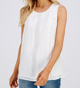 Crochet Back To Me White Tank