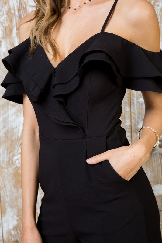Ruffle My Tulip Black Jumpsuit