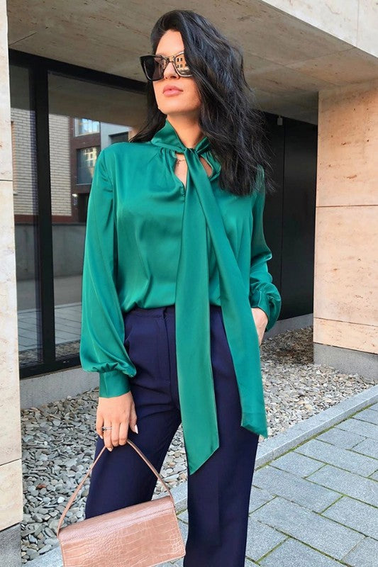 Walk This Way Emerald Green Silk Shirt