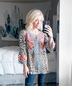 Bailey Leopard Embroidered Top