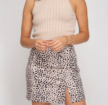 Load image into Gallery viewer, Cheyenne Cheetah Faux Suede Mini Skirt