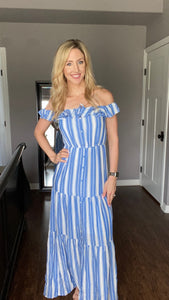 Stripe A Pose Blue Maxi Dress