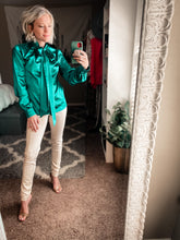 Load image into Gallery viewer, Walk This Way Emerald Green Silk Shirt