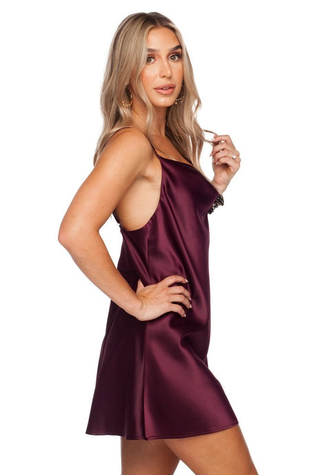 [Buddy Love] Celine Silk Slip Dress-Wine