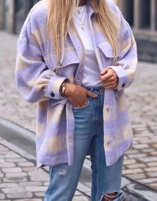 I'm Yours Oversized Lilac Plaid Jacket