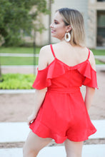 Load image into Gallery viewer, Give Me the Cold Shoulder Red Romper