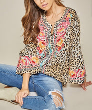 Load image into Gallery viewer, Bailey Leopard Embroidered Top