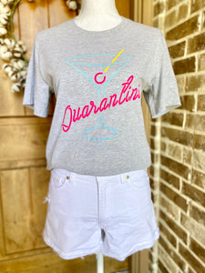 Quarantini Graphic Tshirt-Gray