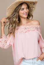 Load image into Gallery viewer, Peach Fairy Tale Lace Trim Top
