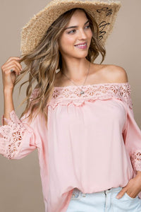 Peach Fairy Tale Lace Trim Top