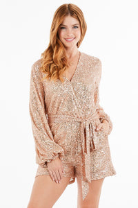 'Tis The Season To Sparkle Rose Gold Sequin Romper