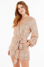 Load image into Gallery viewer, 'Tis The Season To Sparkle Rose Gold Sequin Romper