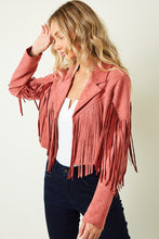 Load image into Gallery viewer, Heartbreaker Suede Moto Fringe Jacket -Mauve