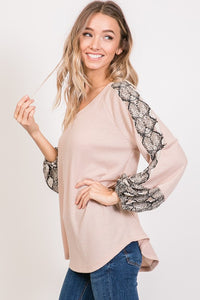 Weekends Are For Waffles Top -Taupe