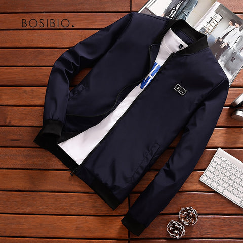 BOSIBIO Summer Autumn Mens Jacket Stand Collar Windbreaker Male Blue Baseball Jackets Casual Thin High Quality Size M-4XL LH-2
