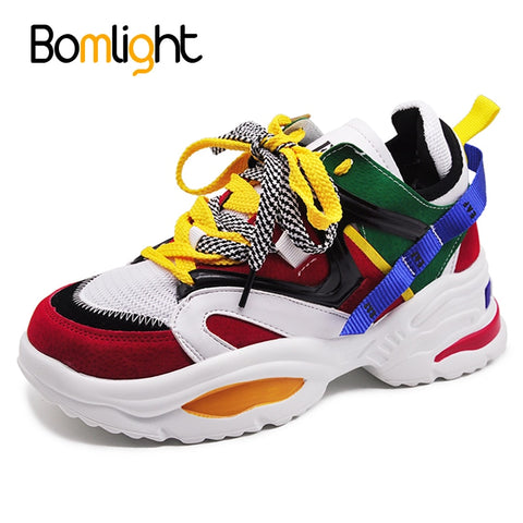 Bomlight Trendy Women Sneakers Thick Sole Ladies Platform Shoes Web Celebrity Chunky Dad Sneakers Chaussures Femme Buty Damskie