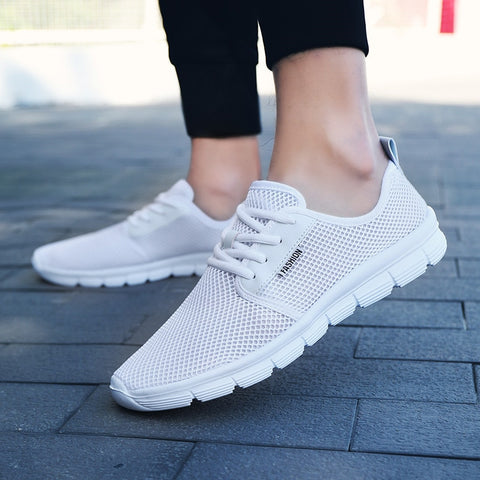 ZOQI Unisex Casual Shoes Men Sneakers Superlight Trainers Mens Shoes Breathable Mesh Flat Shoes Men Mocassim Masculino White