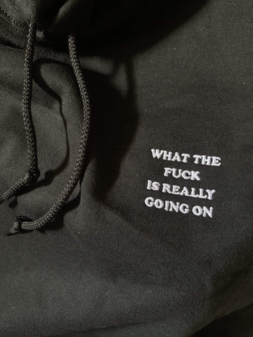 what the fuck is really going on Hoodie (embroidered)