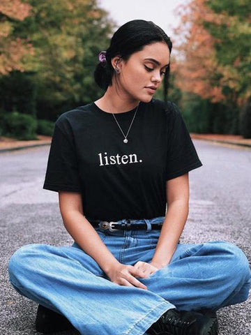 listen. T-Shirt (black) - YDWYA – You Decide Who You Are