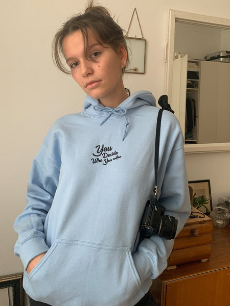 You Decide Who You Are embroidered hoodie (sky blue) - YDWYA – You Decide Who You Are