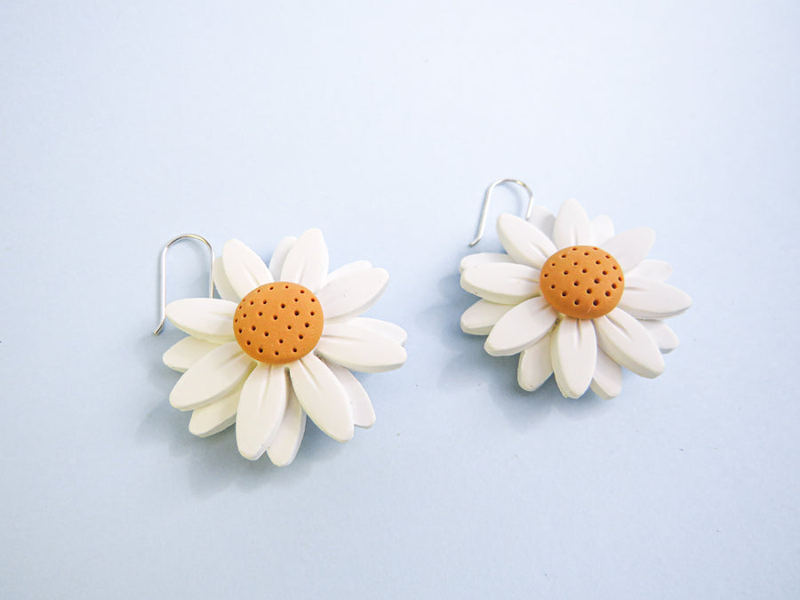Daisy Flower Earrings Yellow white