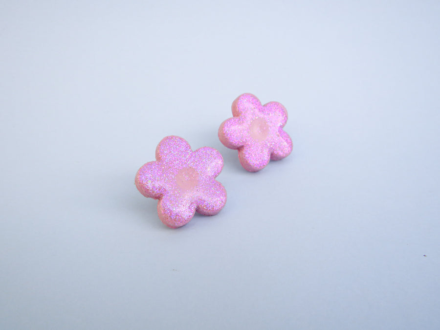 Glitter flower earrings Pink