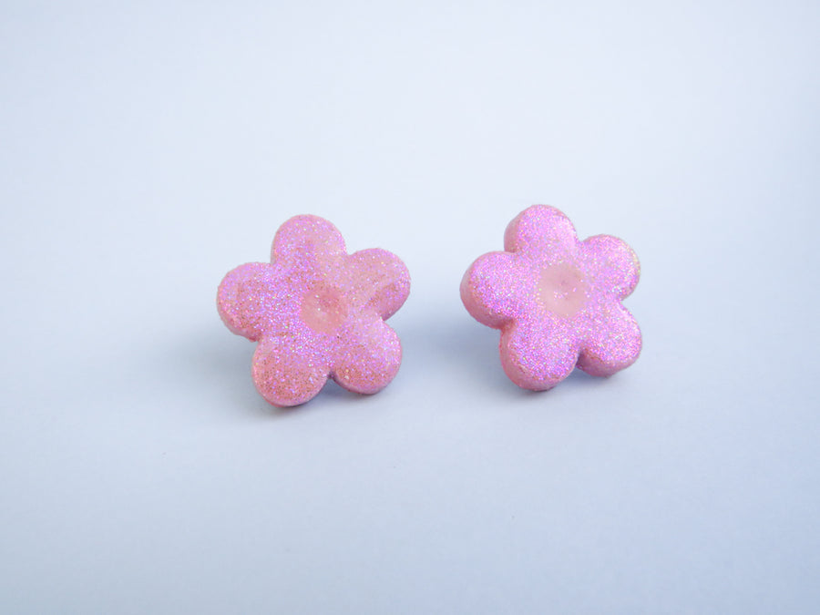 Glitter flower earrings