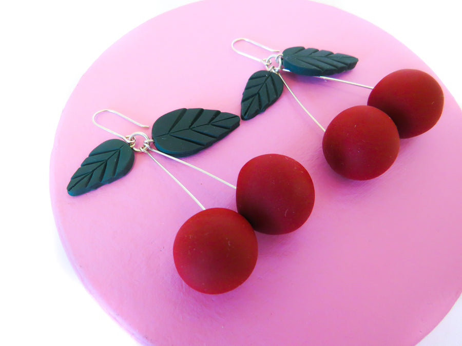 Retro Red Fruit Earrings