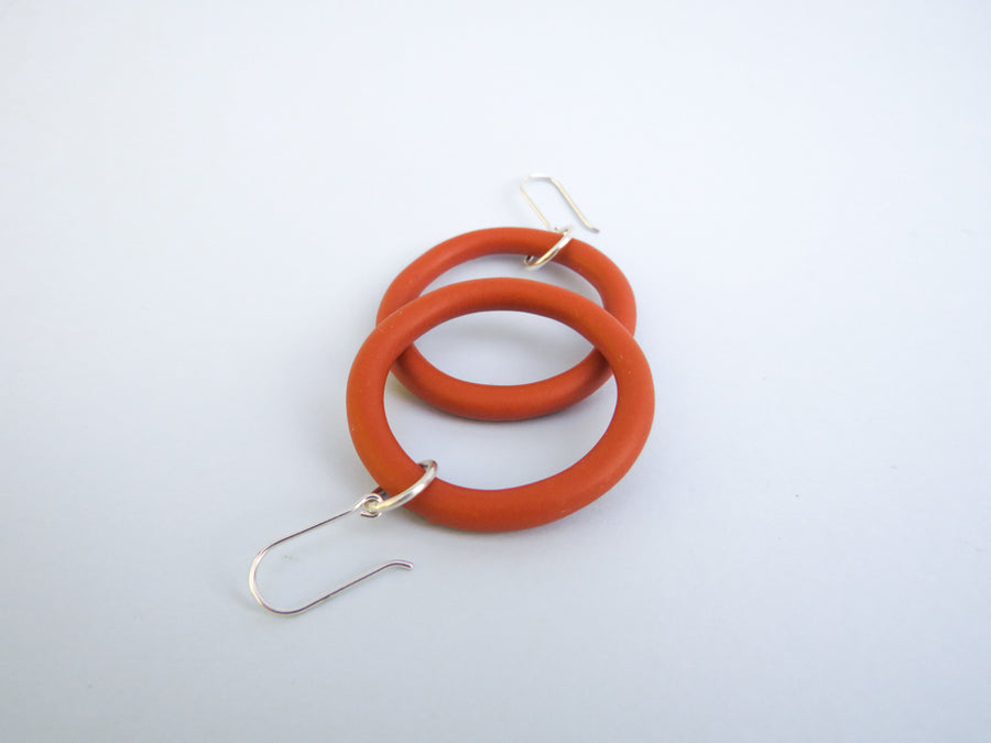 burnt orange hoop silver