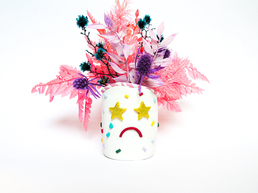 Clay vase: Birthday theme with stars and cake sprinkles